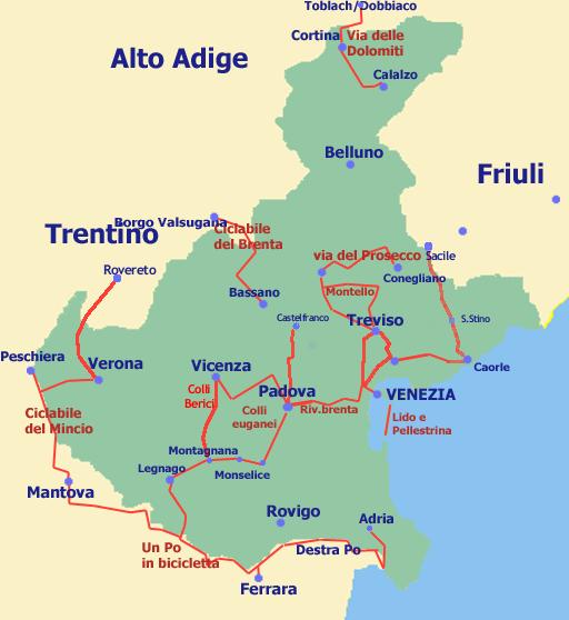 Cartina Del Veneto E Friuli.Mappa Ciclabile Del Veneto